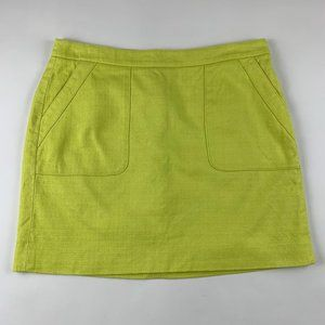 LOFT Sunshine Yellow Cotton Tweed Skirt 10